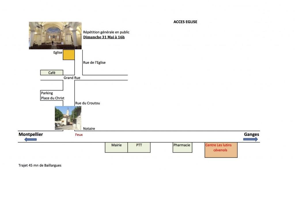 Plan accès Eglise St Bauzille